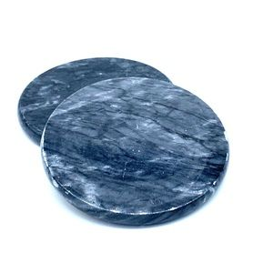 JAY IMPORTS two Black marble drink coasters